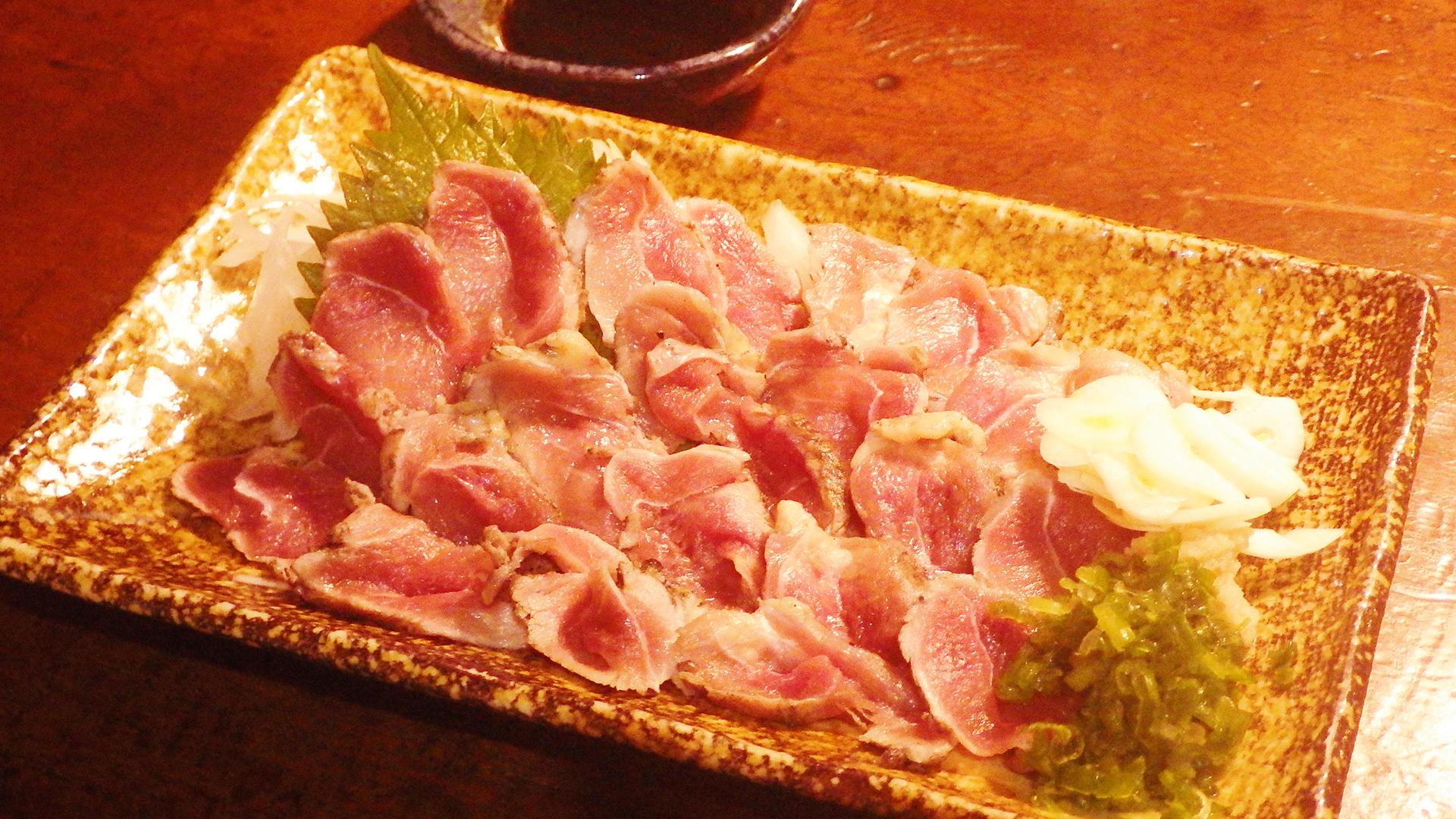 地鶏の「それりす」炙り刺